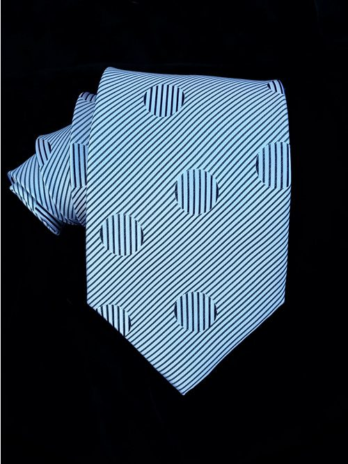 Geometric Black and White Silk Twill tie