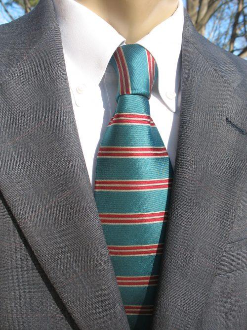teal red horizontal stripe tie